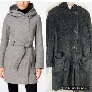 Calvin Alpaca Wool Hooded Long Coat EUC Size 14